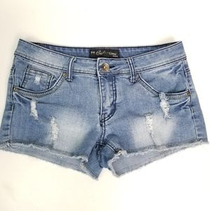 Seductions 7 Faded Cut-Off Stretchy Jean Shorts
